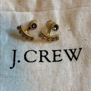 J. CREW Gold Crystal Earrings with Hugger Backs